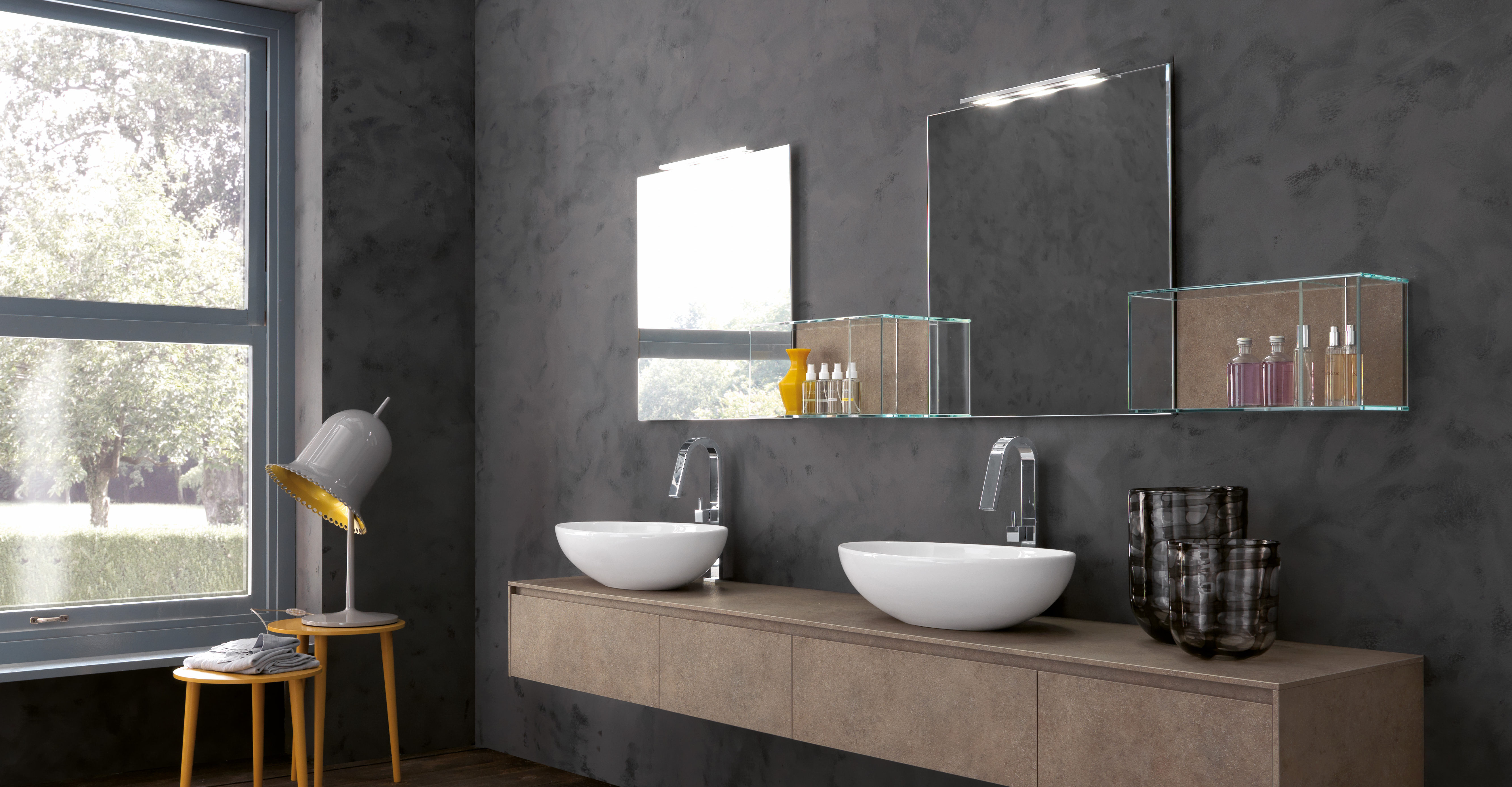 Modern Bathroom Mirror Sink Cabinet in Tulle Design